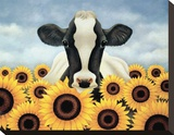 Surrounded by Sunflowers Stretched Canvas Print by Lowell Herrero