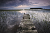 Lake Usma Viewed from a Mooring Stage on Moricsala Island with Dark Clouds, Moricsala, Latvia Photographic Print by  López