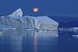 Full Moon over an Iceberg at Dusk, Saqqaq, Disko Bay, Greenland, September 2009 Photographic Print by  Jensen