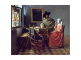 The Glass of Wine Giclée-tryk af Johannes Vermeer