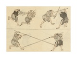 Martial Artists Fighting Giclee Print by Katsushika Hokusai