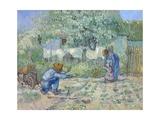 First Steps, after Millet Giclee-trykk av Vincent van Gogh