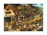 The Dutch Proverbs Giclee-trykk av Pieter Bruegel the Elder