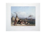 Funeral Scaffold of a Sioux Chief Near Fort Pierre Stampa giclée di Karl Bodmer