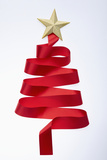 The Tree Shaped Red Tie and Gold Star Fotografie-Druck