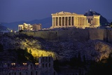Parthenon Illuminated at Dusk Fotografisk trykk av Paul Souders