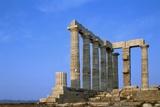 Temple of Poseidon in Greece Fotografisk tryk af Paul Souders
