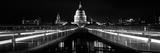 Bridge Lit Up at Night, London Millennium Footbridge, St. Paul's Cathedral, Thames River Photographic Print