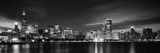 Buildings at the Waterfront Lit Up at Night, Sears Tower, Lake Michigan, Chicago, Cook County Fotoprint
