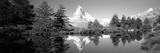Reflection of Trees and Mountain in a Lake, Matterhorn, Switzerland Fotografie-Druck