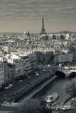 City with Eiffel Tower in the Background Viewed from Notre Dame Cathedral, Paris, Ile-De-France Lámina fotográfica