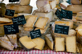 Cheese for Sale at a Market Stall, Lourmarin, Vaucluse, Provence-Alpes-Cote D'Azur, France Fotografie-Druck