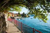 Walkway Along the Shore of a Lake, Varenna, Lake Como, Lombardy, Italy Premium Photographic Print
