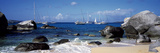 Sailboats in the Sea, the Baths, Virgin Gorda, British Virgin Islands Photographic Print