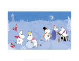The Moomins in the Snow Poster por Tove Jansson