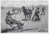 Teaching a mustang pony to pack dead game Samlertryk af Frederic Sackrider Remington