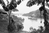 Ships in the Panama Canal Lámina fotográfica prémium