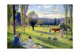 The Harvest, 1895 Giclée-tryk af Henri Martin