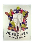 Drink Wine, Live Joyfully', Poster Promoting Wine, 1933 Gicléetryck av Leonetto Cappiello