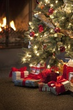 Christmas Tree by Fireplace Stampa fotografica