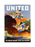 United - the United Nations Fight for Freedom Poster Giclee-trykk av Leslie Darrell Ragan