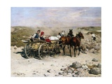 A Haycart, a Shepherd and His Flock on a Country Lane Giclee Print by Alfred von Kowalski-Wierusz