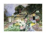A Cottage Garden at Sunset Gicléetryck av David Woodlock