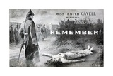 Card Commemorating the Death of Edith Cavell Giclee Print