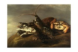 Still-Life of Lobster, Crabs, Mussels and Fish Giclée-tryk af Elias Vonck
