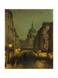 St. Paul's Cathedral from Ludgate Circus, London, England Giclée-tryk af John Atkinson Grimshaw