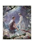 Hermia and Lysander Giclée-Druck von John Simmons