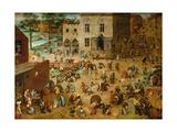 Børnelege Giclée-tryk af Pieter Bruegel the Elder