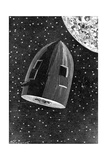 Rocket Capsule Illustration from the 1872 Edition of from the Earth to the Moon Impressão giclée por Jules Verne