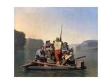 Lighter Relieving a Steamboat Aground Gicléedruk van George Caleb Bingham