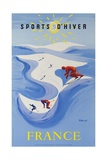 Sports D'Hiver, France, French Travel Poster Winter Sports Stampa giclée