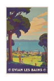 Evian Les Bains, French Plm Railway Gold Poster Stampa giclée