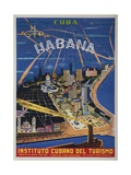 Cuba, Havana, Instituto Cubano Del Turismo, Travel Poster Reproduction procédé giclée