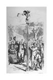 Political Cartoon Depicting Benjamin Disraeli Reaching the Top of the Political Pole Giclée-vedos