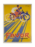 Favor Cycles and Motos French Advertising Poster Giclée-tryk