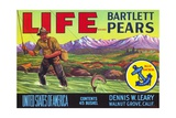 Life Brand Bartlett Pears Fruit Crate Label