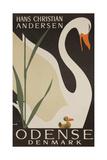 Odense Denmark Travel Poster, Hans Christian Andersen Ugly Duckling Giclée-tryk