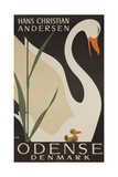 Odense Denmark Travel Poster, Hans Christian Andersen Ugly Duckling Stampa giclée