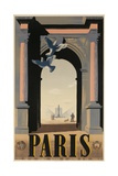 Paris, French Travel Poster, Arch Giclee Print