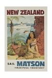 Matson Lines Travel Poster, New Zealand Giclée-Druck