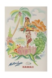 Matson Lines Travel Poster, Hawaii Native with Tropical Fruit Giclée-Druck