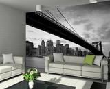 New York Brooklyn Bridge Schwarz Weiss Fototapete Wandgemälde