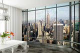 New York Skyline Window Wallpaper Mural Carta da parati decorativa