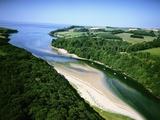 Aerial View of River Erme Fotografie-Druck von Jason Hawkes