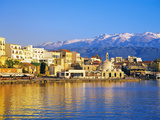 Chania Waterfront and Mountains in Background, Chania, Crete, Greece, Europe Photographic Print by Marco Simoni