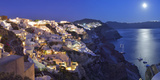 Moon over the Town of Oia, Santorini, Kyclades, South Aegean, Greece, Europe Photographic Print by Christian Heeb